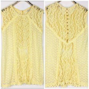 Champagne & Strawberry Yellow Sheer Lace Tunic M